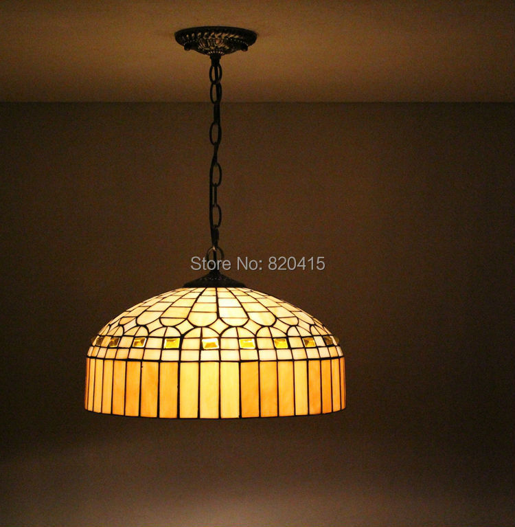 16 inch tiffany style stained glass pendent lights 2 handmade bedroom light fixtures kitchen vintage indoor lamps - Broadway Lighting store