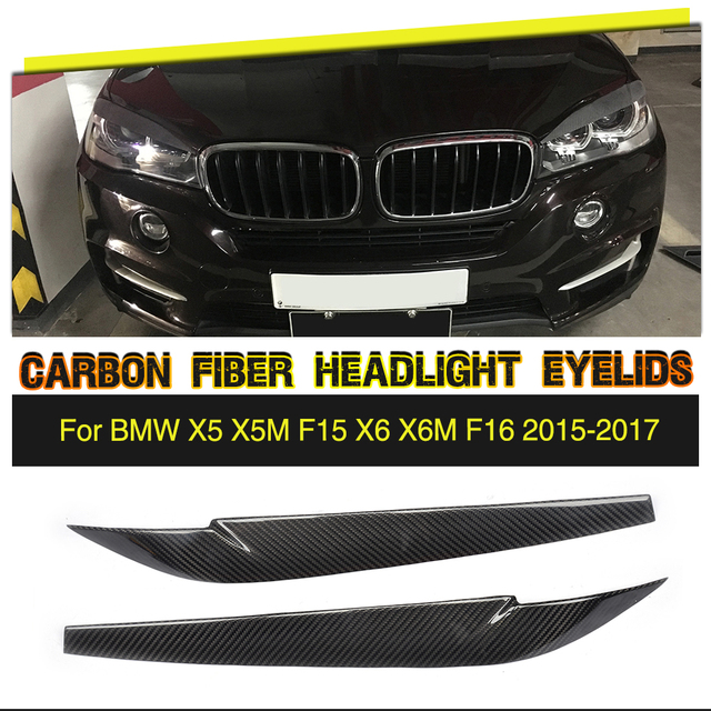 Car Headlamp Eyelids Stickers Frontlight Eyebrows Trims Covers For BMW X5 F15 X6 F16 2014 - 2018 Carbon Fiber