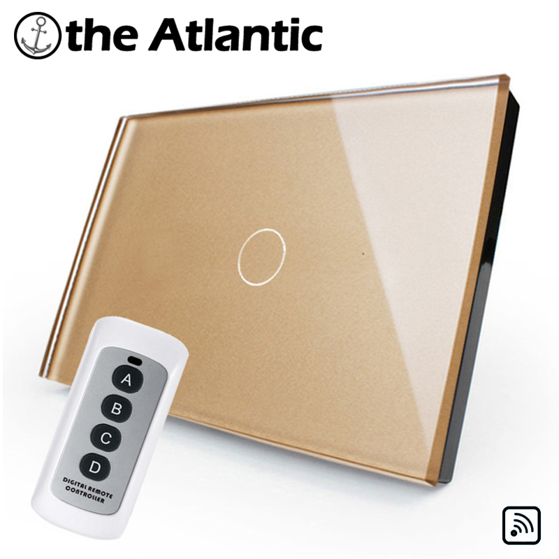 Remote Control , US/AU Standard, Light Home 1 Gang 1 Way ,Remote <font><b>RF433MHZ</b></font> Glass Panel Wall Switch Remotely Controlled image