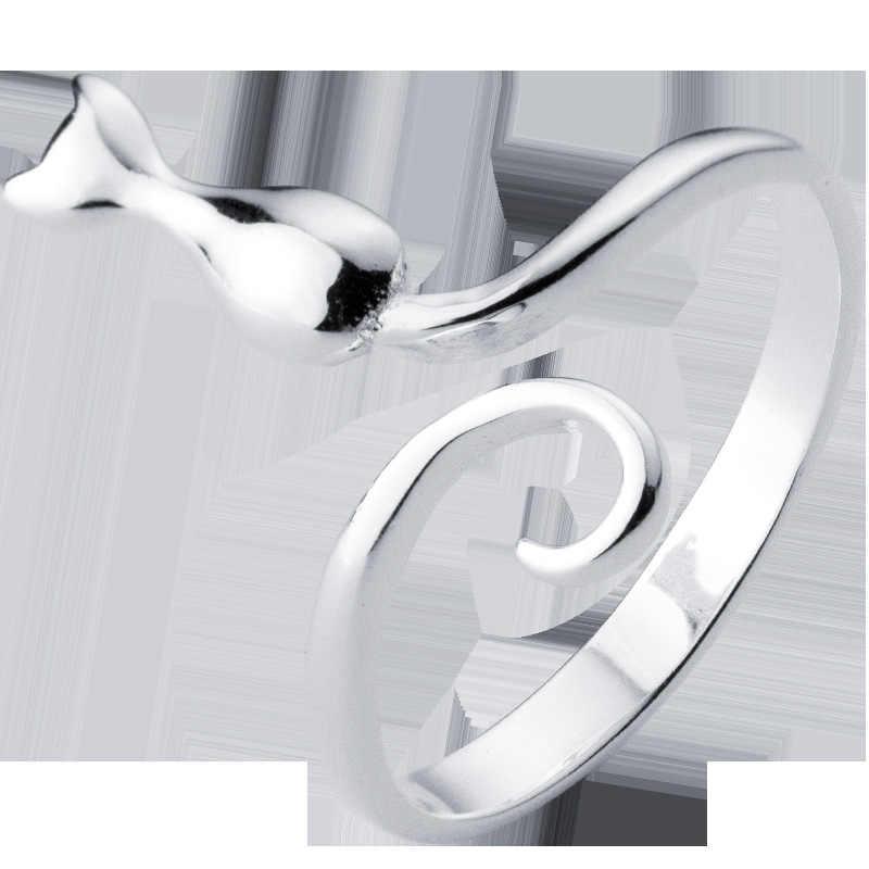 MosDream 3D แมวน่ารักแหวนหญิงหวานม้วน Tail Kitten แหวน S925 Silver Elegant เครื่องประดับสำหรับผู้หญิง
