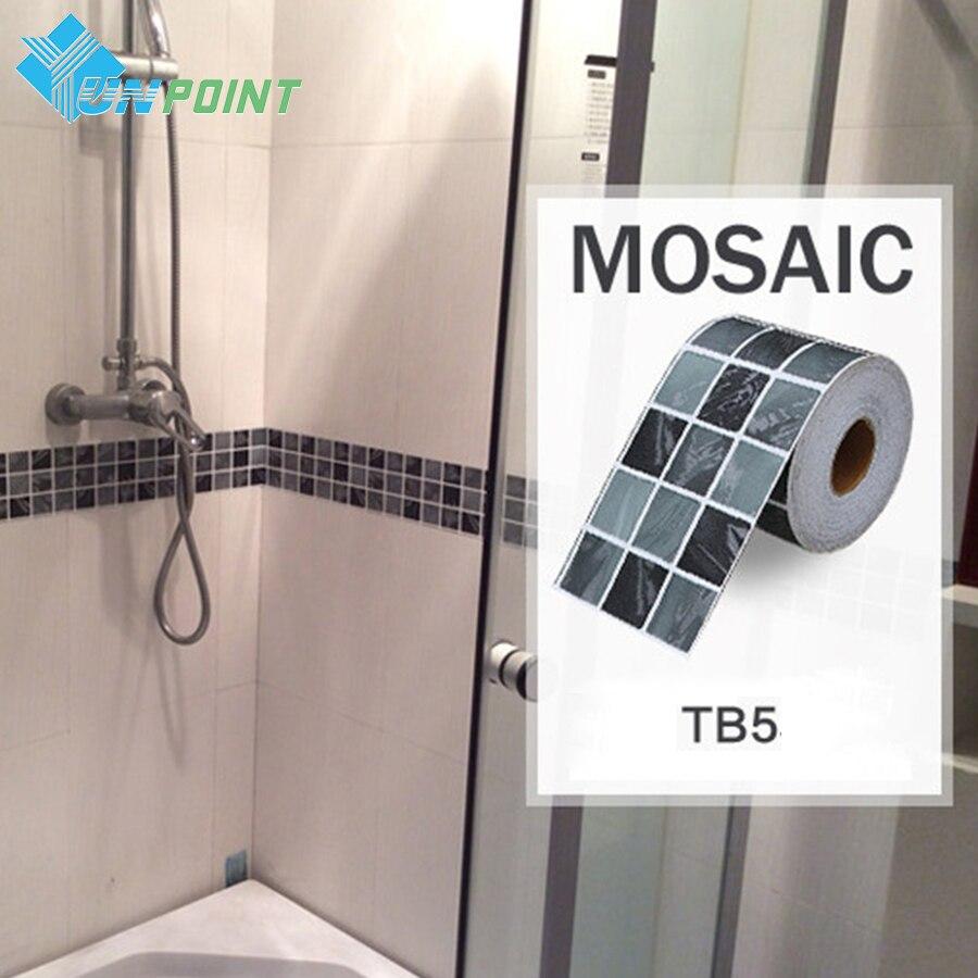 Classical Mosaic Stickers Vinyl Waterproof Waistline Self Adhesive Wallpaper For Kitchen Bathroom Tiles PVC Wall Sticker Borders