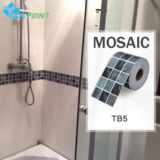 Bathroom Tiles Mosaic Border: Classical Mosaic Stickers Vinyl Waterproof Waistline Self