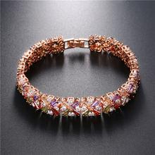 Женский браслет из розового золота с разноцветными фианитами