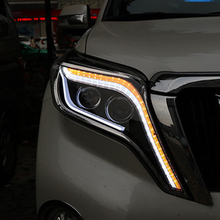 цена на Headlights For Toyota Prado Landcruiser Headlight 2014-2017 LC200 FJ150 Head lamp LED Bar DRL+Yellow LED Turning Bi Xenon