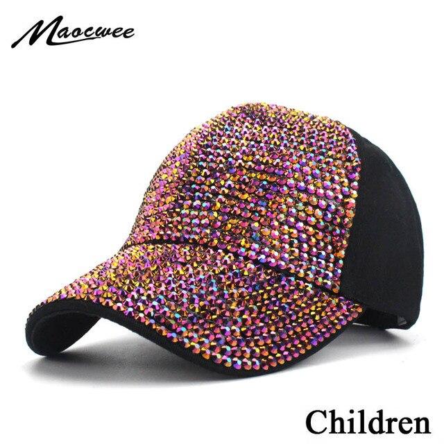 e04830e9521e6 ... new zealand new fashion girl boy rhinestone baseball cap hat for  children summer baby baseball diamond