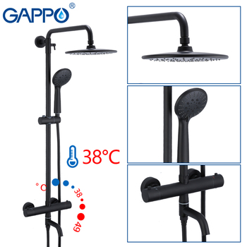 GAPPO thermostatic shower system hot cold mixer Brass bathroom shower faucet Bathtub shower sets thermostatic mixer faucets gappo shower faucet bath mixer black massage shower faucets bathtub tap sets shower mixer torneira do anheiro shower faucet sets