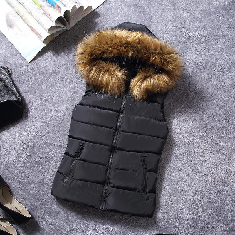 womens puffer vest faux fur vest with hood arrival winter sleeveless women's  hooded shiny cotton waistcoat vest fur collar coat-in Vests & Waistcoats  from ... - Womens Puffer Vest Faux Fur Vest With Hood Arrival Winter