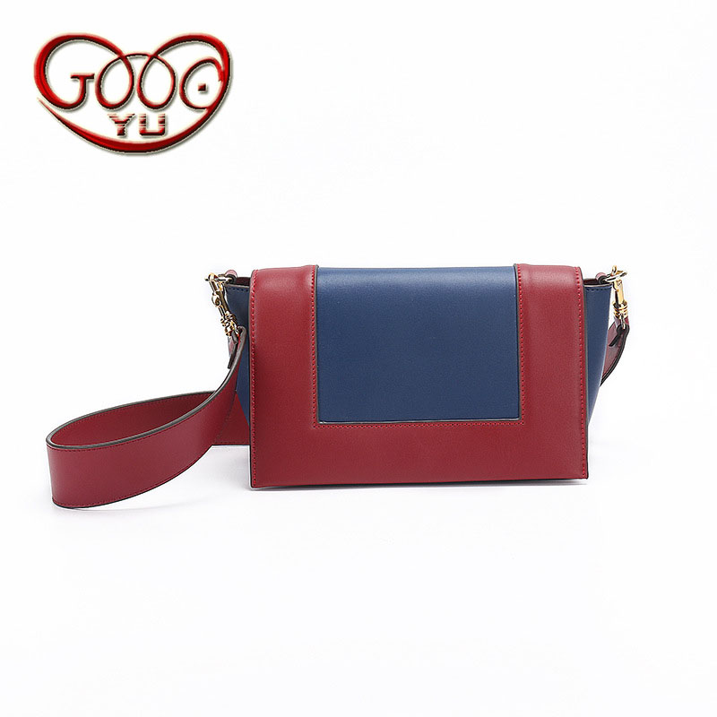 Fight color cross section square leather handbags new shoulder small square bag hit color wide shoulder strap Messenger bag square cross section of the new square leather small square bag double sided multi color leather messenger bag shoulder messenge