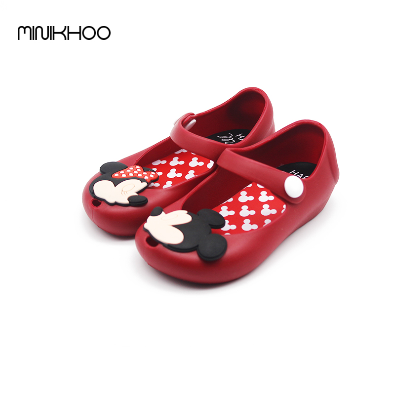 Mickey & Minnie Shoes Kids Girls Sandals Crystal Jelly Shoes Melissa Sandals Child Mini Melissa Cute Baby Girl Sandals 13-17cm