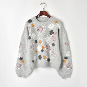 Flower Decor Lantern Sleeve Pull Femme Knitted Fashion Women Sweater Women Clothes Lady Girl Pullover Spring Autumn Streetwear