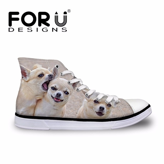 FORUDESIGNS Cute Chihuahua Printed Women High Top Vulcanize Shoes 3D Animal Female Lace-up Canvas Shoes Women's Sneakers Shoes