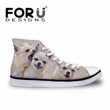 FORUDESIGNS Lucu Chihuahua Dicetak Wanita Tinggi Top Sepatu Vulkanisir 3D Hewan Perempuan Lace-up Kanvas Sepatu wanita Sneakers sepatu