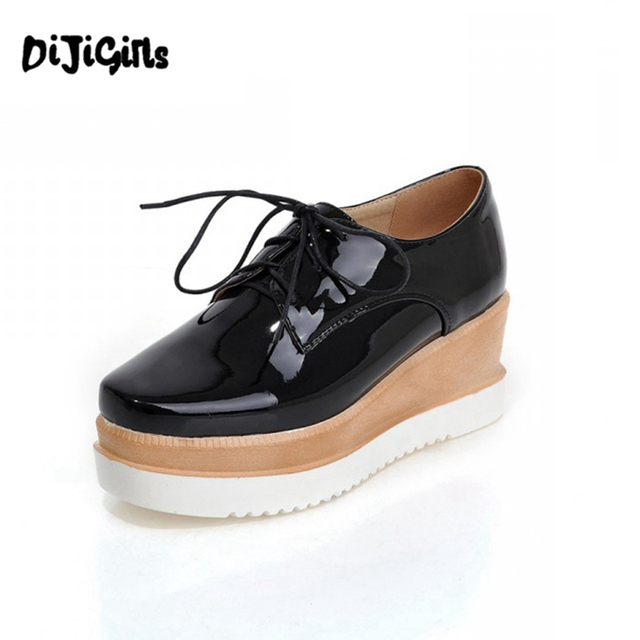 DIJIGIRLS Fashion Women Casual Shoes Lace Up Thick Sole Platform Shoes  Black Red White silver Women Lady Female Square toe shoes 867b6cb30