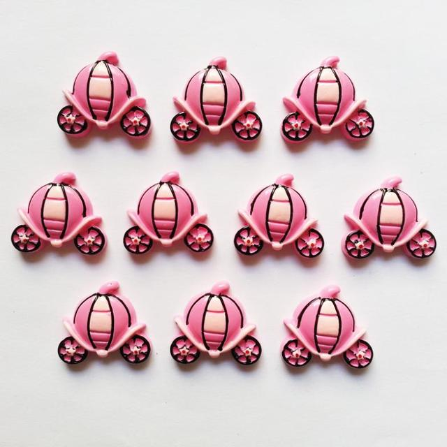 Wholesale Bulk 50pcs Pink kawaii Pumpkin Carriage Flatback Resin Cabochons for Girl Hair Bow Home Decoration Accessories