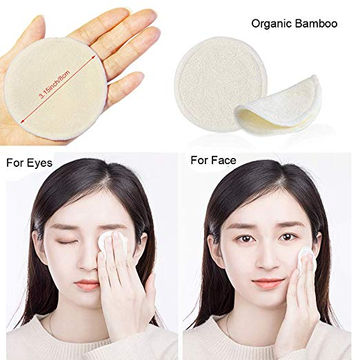 iCosow Reusable Makeup Remover Pads 50 Packs, Washable Organic Bamboo Cotton Rounds, Toner Pads, Facial Soft Cleansing Wipes