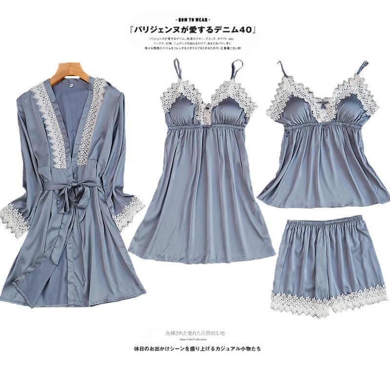 Для женщин пижамы 4 шт. атласные Pijama шелковые Домашняя одежда дома вышивка сна Lounge с нагрудники