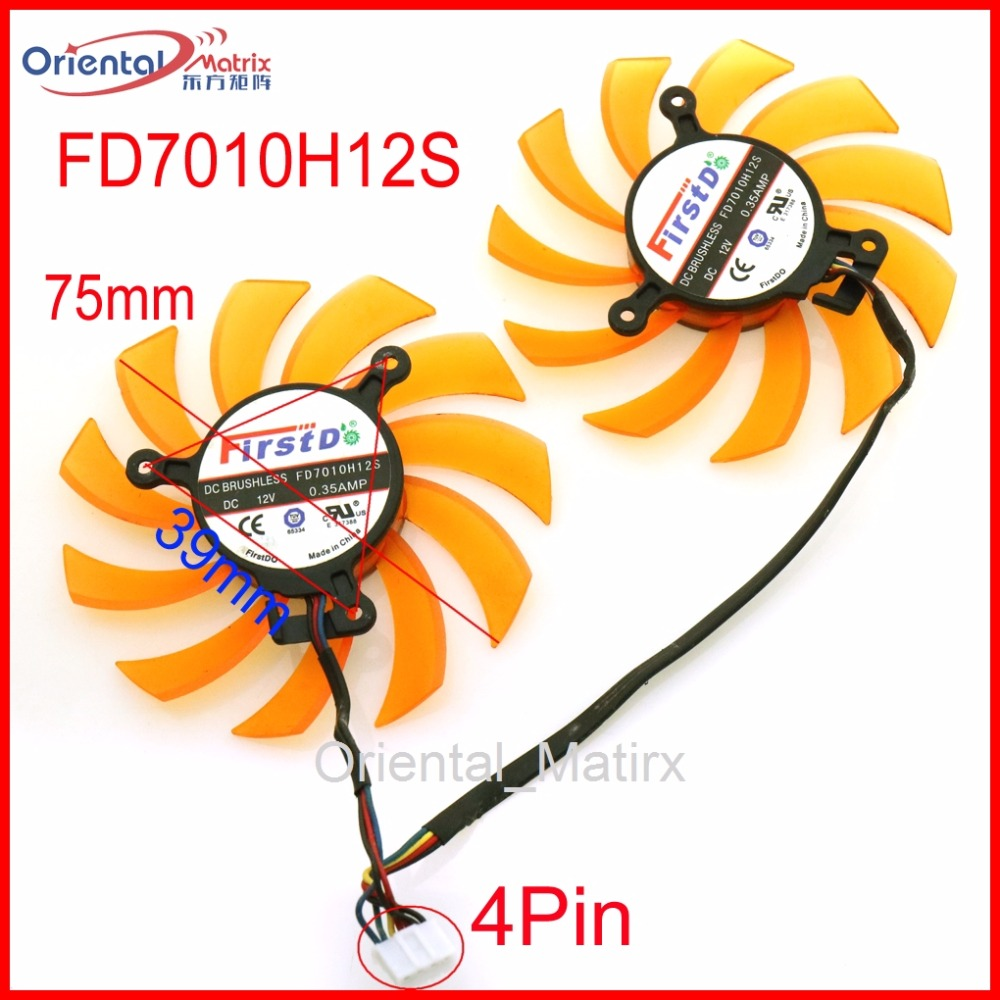 Free Shipping 2pcs/lot FD7010H12S 75mm 12V 0.35A 4Pin For ZOTAC GTX660Ti <font><b>GTX650Ti</b></font> Graphics Card Cooling Fan image
