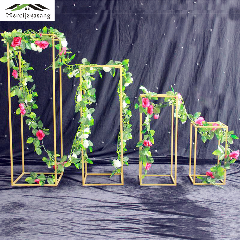 4PCS LOT Floor Vases Metal Tabletop Vase Flower Holder Centerpieces Racks Geometric Road Lead for Home