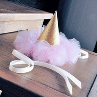 Lovely Girl Pink Crown First Birthday Crown Baby Girl Hat Of Glitter Photo Prop Blink Golden
