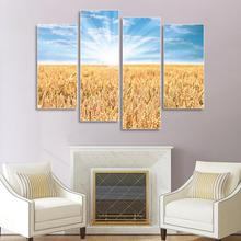 Laeacco 4 Panel Canvas Painting Calligraphy Landscape Posters and Prints Wheat Field Wall Art Picture for Living Room Home Decor