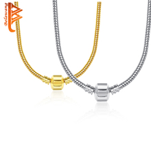 2 Style 44CM Silver /Gold Plated Charm Fit Necklace Snake Chain Necklace Silver Plated 925 Original Jewelry Necklace For Women