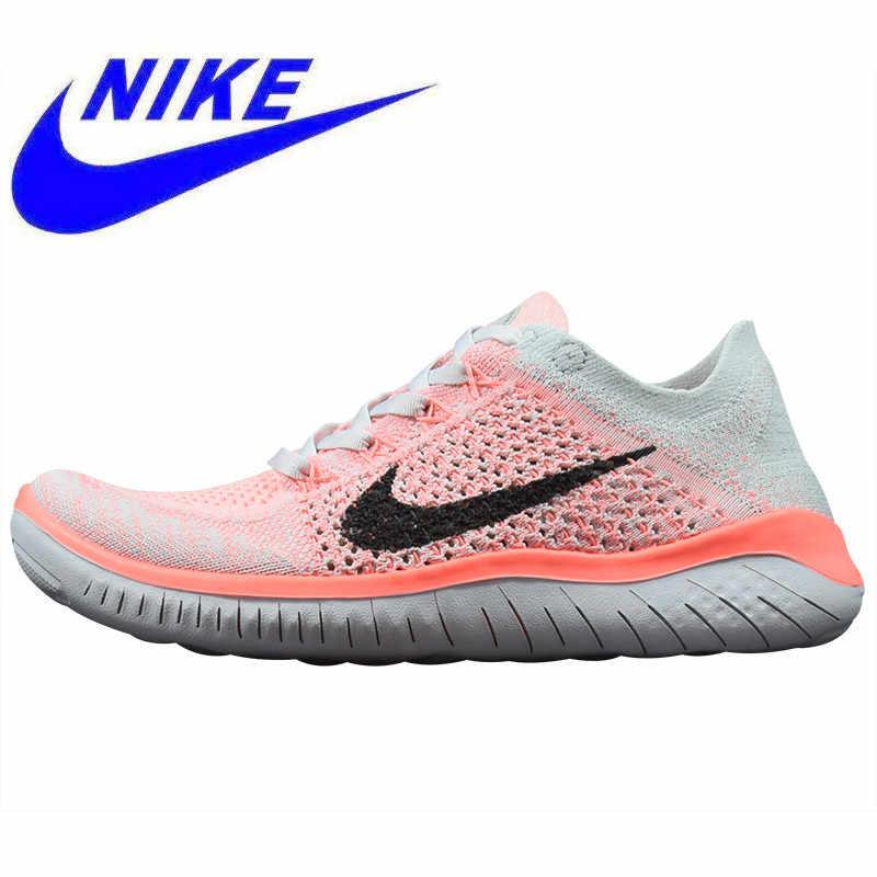 Новый высокое качество Nike Free Rn Flyknit женские кроссовки, розовый, спортивная  обувь дышащие легкие cbdd4e13533