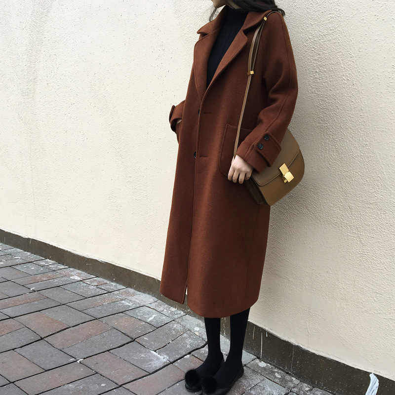 U-SWEAR Women Woolen Coat Winter A Buckle Belt Turn-down Collar Female Wool Blends Abrigos Mujer Invierno 2018