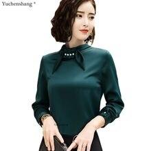 fa4fb75b272 2018 осенью новый высокое качество шелковая блузка рубашка женская мода  полный рукав офисные формальные свободные большие размер.