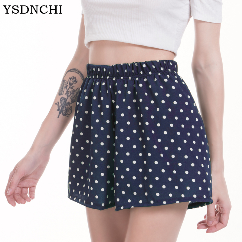 YSDNCHI S-XL Elastic Waist Women Chiffon   Shorts   Dot Style Casual Summer   Shorts   Mid Waist Loose   Short   Beach Flare   Shorts   New