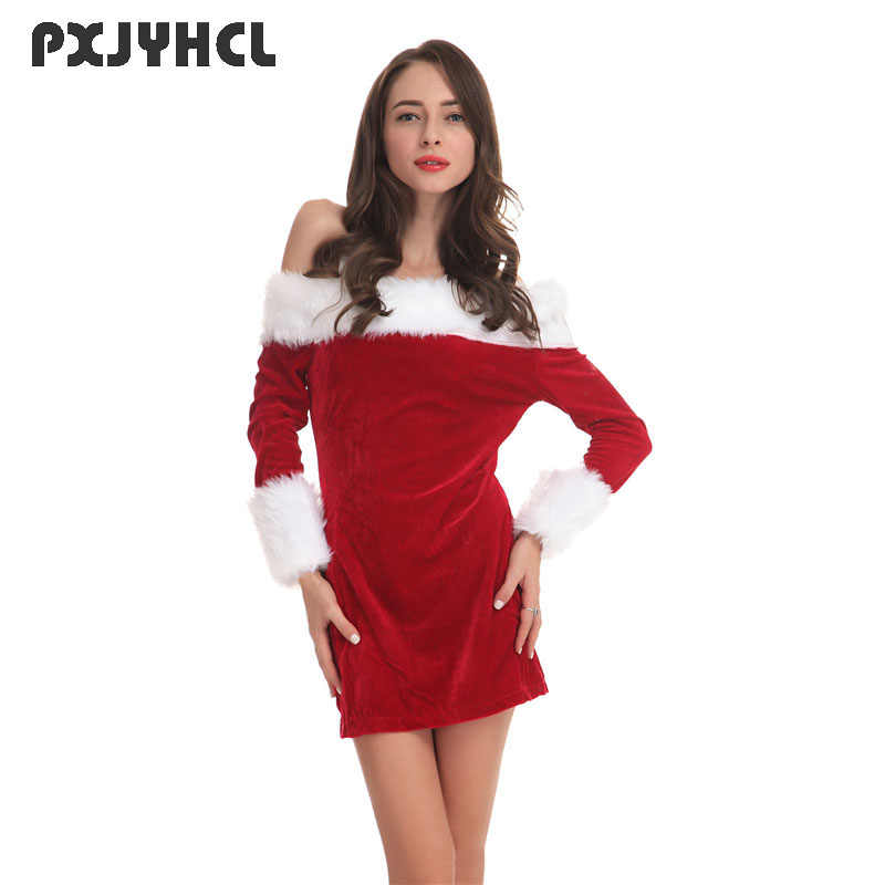 New Year Sexy Christmas Short Dress Women Adult Red Long-sleeve Strapless  Party Dress Festival d5c2e6fc9