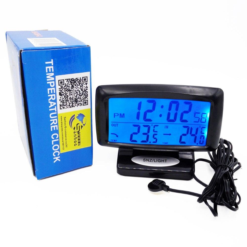 Prix pour 12/24 Heure Numérique Automatique De Voiture Intérieur/Extérieur Thermomètre Horloge Temp Sens Numérique Rétro-Éclairage LCD Affichage Snooze Alarme Calendrier