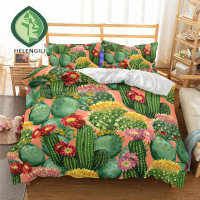 HELENGILI 3D Bedding Set Cactus Print Duvet cover set lifelike bedclothes with pillowcase bed set home Textiles #2 9