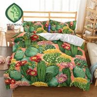 HELENGILI 3D Bedding Set Cactus Print Duvet cover set lifelike bedclothes with pillowcase bed set home Textiles #2 9