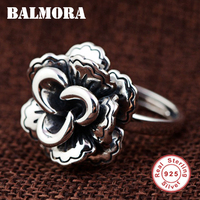 BALMORA 925 Sterling Silver Rose Flower Rings for Women Mother Lover Gift Resizable Ring Retro Fashion Jewelry Anillos SY22177
