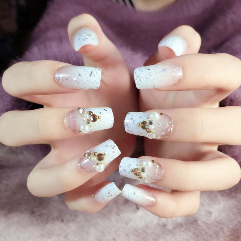 Beautiful Press On Nails Jade White Gradient Fake Finger Nails ...