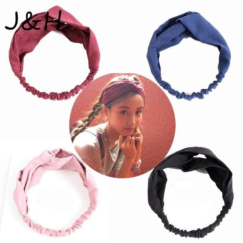 High Quality Women Spring Summer Suede Headband Vintage Cross Knot Elastic Hair Bands Soft Solid Girls Hairband Gift
