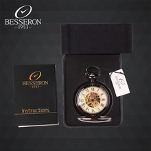 Steampunk Reloj de Bolsillo Retro Marca Besseron Esqueleto Mecánico Relojes de Bolsillo Colgante de Collar de Cadena Hueco Tallado Reloj 2016