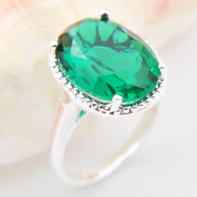 2017 Promotion Fire Oval green crystal Silver Plated Wedding Rings