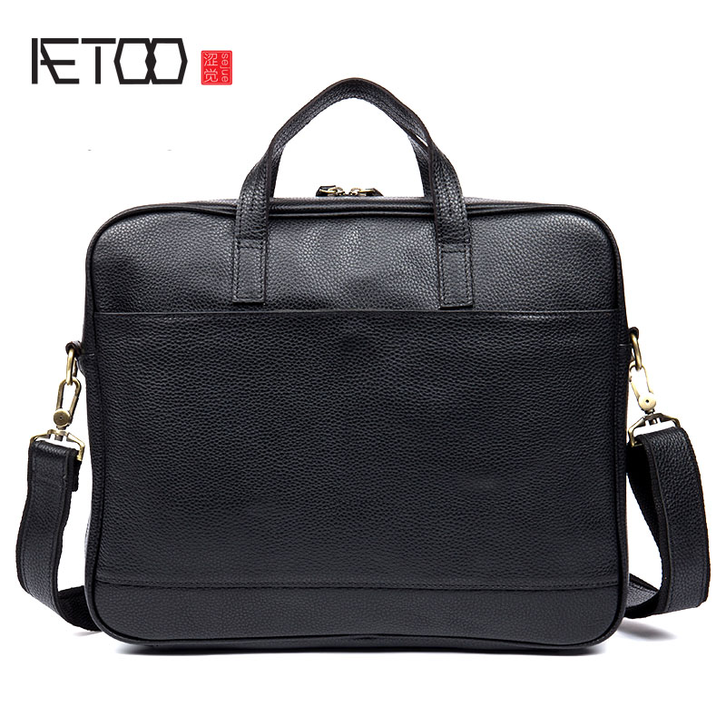 AETOO Business first layer of leather men's handbag cross section leather briefcase shoulder bag computer bag aetoo first layer of leather foreign trade shoulder oblique cross package leather square notebook handbag business briefcase men