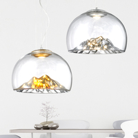 Designer D40cm 110v 220v COB LED 3000K warm white 12w gold/silver mountain transparent glass pendant light lamp suspended lamp