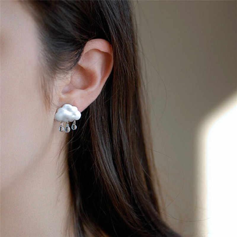 1 çift kulak takı düğme küpe yeni moda sevimli bulut kristal Rhinestone İmitasyon İnci yağmur bulut küpe kişilik tasarım