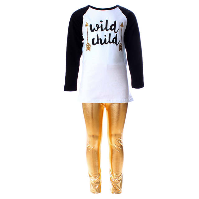 2016 Valentines Day Easter Screenprinting Girls Clothes Spring Kids Clothes  Gold Metallic Pants Boutique Baby Birthday Outfits 969f2dd3033e