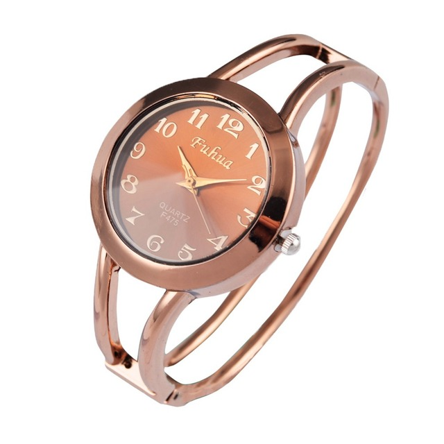 Hot Fashion Hollow Out Bracelet Watch Rose Gold Wristwatches Round Dial Analog Q