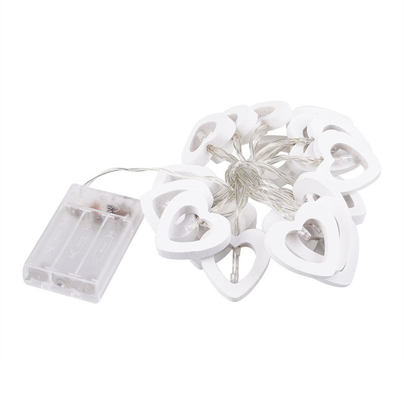 2M 20 LED Wooden Heart Light String Ivory White Battery Powered Valentines Day Decoration for Holiday Decoration Valentine Day