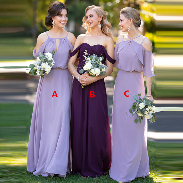 Elegant Bridesmaid Dresses Long Chiffon Three Style High Quality Wedding Party Vestido Longo