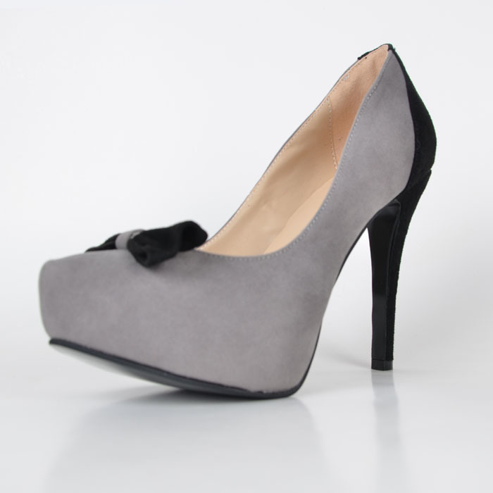 Grey and Black Dress Shoes Stiletto Heel Slip ons High Heel Pumps Platform Custom Made Designer