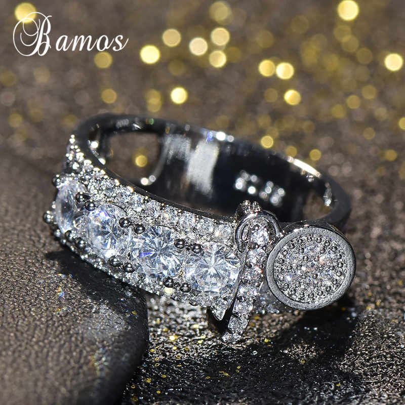 Bamos 高級白ジルコン婚約指輪ヴィンテージローズゴールド充填結婚指輪女性のファッションジュエリー 2018 新到着