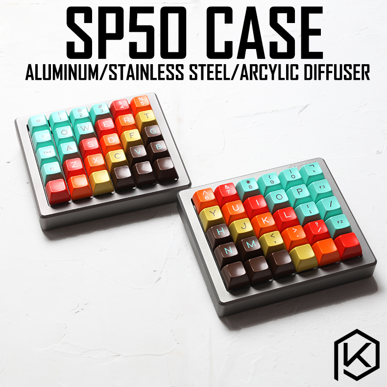 Anodized Aluminium case for sp50 50 custom keyboard acrylic panels stalinite diffuser can support Rotary brace