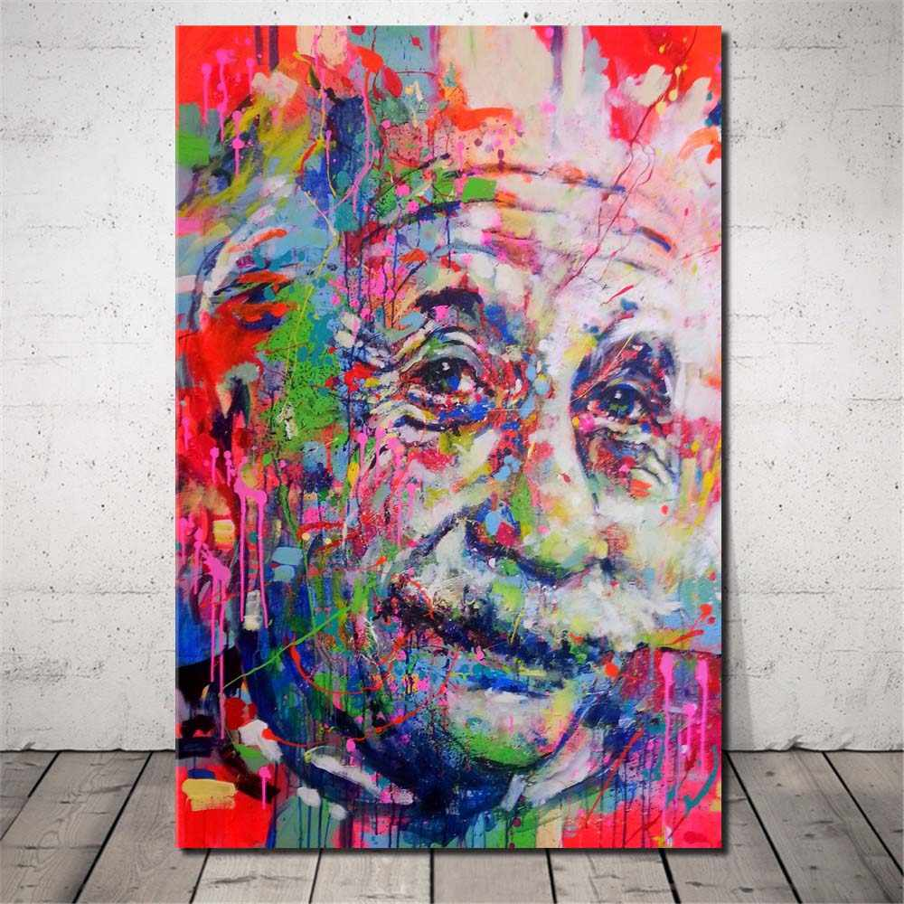 Colorful Einstein Face Street Graffiti Wall Art Painting Abstract Figure Picture Print on Canvas for Home Wall Decor Unframed