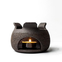 Handmade Retro Coarse Pottery Tea Stove Candle Heating Warmer Base Ceramic Teapot Holder Teapot Trivets Tea Ceremony Accessories
